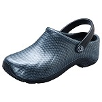 Cherokee's AnyWear Women's Zone Clog w/backstrap in Black/Silver