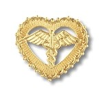 Caduceus in Filigreed Heart Pin #1010