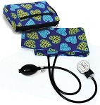 Premium Adult Aneroid Sphygmomanometer with Color Coordinated Carrying Case, Dotty Hearts #882-DTH