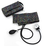 Premium Adult Aneroid Sphygmomanometer with Color Coordinated Carrying Case, Leopard Print Grey #882-LPG
