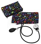 Premium Adult Aneroid Sphygmomanometer with Color Coordinated Carrying Case, Medical Symbols Black #882-MSB