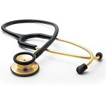 ADC Adscope® 603 Clinician Stethoscope, Gold Finish Chestpiece and Binaurals, Black Tubing