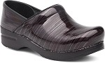 Dansko Professional Women's Stapled Clog in Wine Striped Patent Leather #506880202