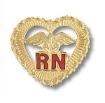 Registered Nurse Pin With Filigreed Heart #1011