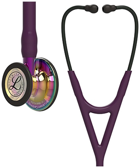 3M™ Littmann® Cardiology IV™ Diagnostic Stethoscope, High Polish Rainbow Finish Chestpiece, Black Headset, Violet Stem, Plum Tubing, 27 inch, #6239