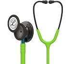 3M™ Littmann® Classic III™ Monitoring Stethoscope, Smoke Chestpiece, Lime Green Tube, Blue Stem and Smoke Headset, 27 inch