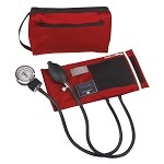 Mabis Premium Aneroid Sphygmomanometer with Color Coordinated Carrying Case #882 - Red